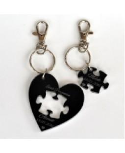 Sevgililere Özel İkili Siyah Akrilik ( Pleksi ) Anahtarlık