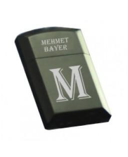 Harf ve İsim Yazılabilen Zenit Marka Kapaklı Metal Siyah Çakmak