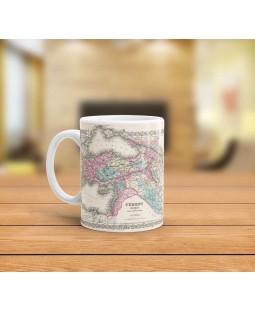 Eski Osmanlı Haritası Tasarımlı Kupa Bardak