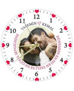 Cam Duvar Saati - Sevgiliye Özel Duvar Saati