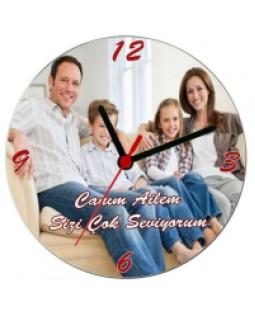 Canım Ailem Duvar Saati - Kişiye Özel Fotoğraf Baskılı