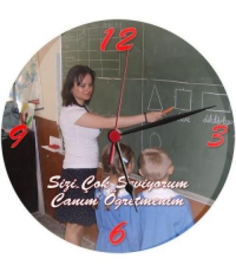 Cam Duvar Saati - Canım Öğretmenime Duvar Saati