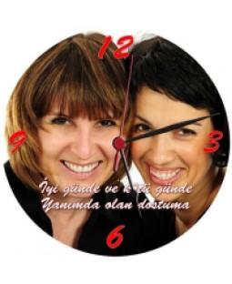 En İyi Arkadaş Duvar Saati - Kişiye Özel Fotoğraf Baskılı