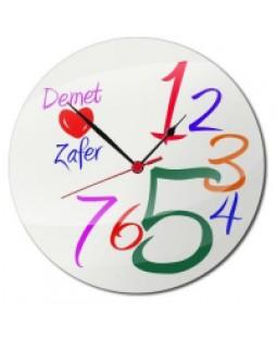 Cam Duvar Saati - Sevgiliye Özel İsimli Saat