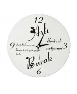 Sevgiliye Özel Yazılı Dekoratif Saat