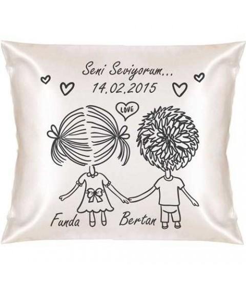 Sevgililere Özel Aşk Dolu Kare Yastık