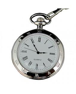 Kişiye Özel Gümüş Renkli Köstekli Cep Saati - Kapaksız Yeni Model