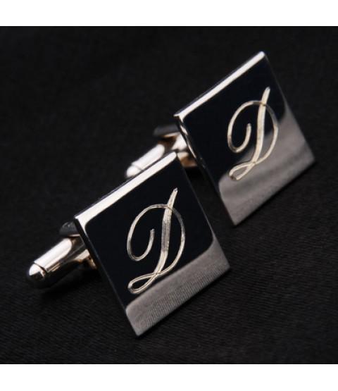 İsim Baş Harfi Yazılabilen Gümüş Kaplama Kol Düğmesi