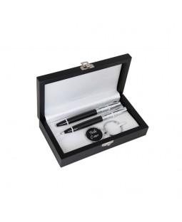 İsme Özel İkili Kalem ve Anahtarlık Seti - Mesajlı Lüx Siyah Ahşap Kutusuyla