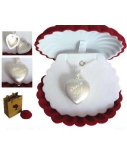 İsme Özel Içine Resim Konulabilen Gümüş Kalp Kolye