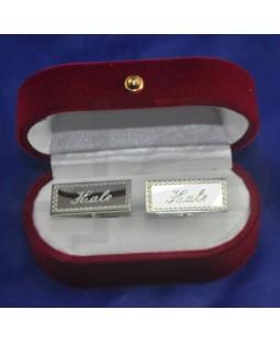 Greek Desenli Gümüş Kaplama Dikdörtgen Kol Düğmesi