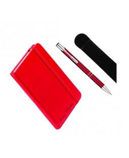 Kişiye Özel Deri Lastikli Defter ve Kalem Seti - Kırmızı