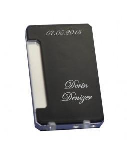 Kişiye ve İsme Özel Zenit Marka Metal Gümüş ve Siyah Renkli Çakmak