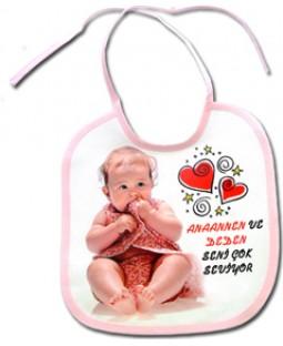 Resim Baskılı Bebek Önlüğü Pembe