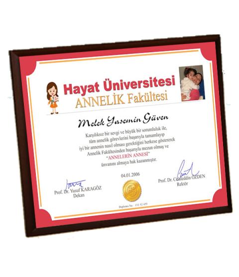 Annelerin Annesi Diploması - Ön Yüzü Metal Ahşap Plaket