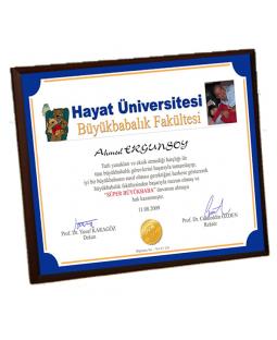 Süper Büyükbaba Diploması - Ön Yüzü Metal Ahşap Plaket