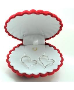 Taşlarla Bezenmiş 925 Ayar Gümüş Kalp Küpe