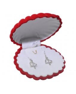 Zirkon Taşlarla Bezenmiş 925 Ayar Gümüş Kalp Küpe