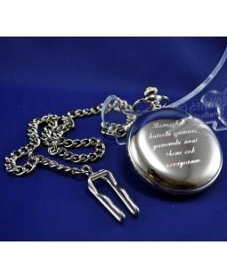 Kişiye Özel Parlak Gümüş Renkli Köstekli Cep Saati