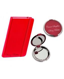 İsme Özel Defter ve Ayna Seti - Kırmızı